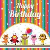 Urodzinowa karta z dzieciakami w zwierzęcym kostiumu Zdjęcie Stock