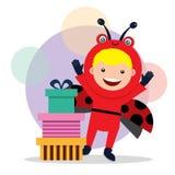 Urodzinowa karta z dzieciakami w zwierzęcym kostiumu Obraz Royalty Free