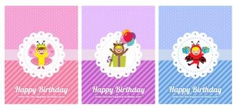 Urodzinowa karta z dzieciakami w zwierzęcym kostiumu Fotografia Royalty Free