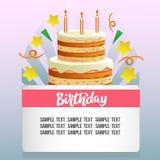 Urodzinowa karta z ślicznym tortem Zdjęcia Stock
