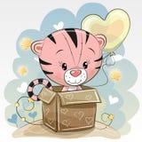 Urodzinowa karta z Ślicznym tygrysem Zdjęcie Royalty Free