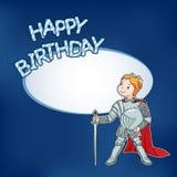 Urodzinowa karta z małym rycerzem Obraz Royalty Free