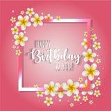Urodzinowa karta z ramą dekorował z kwiatami i rocznika retro tłem Zdjęcia Royalty Free