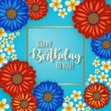 Urodzinowa karta z ramą dekorował z kwiatami i rocznika retro tłem Zdjęcie Royalty Free