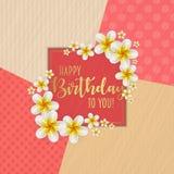 Urodzinowa karta z ramą dekorował z kwiatami i rocznika retro tłem Obrazy Royalty Free