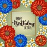 Urodzinowa karta z ramą dekorował z kwiatami i rocznika retro tłem Obraz Stock
