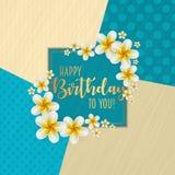 Urodzinowa karta z ramą dekorował z kwiatami i rocznika retro tłem Fotografia Royalty Free