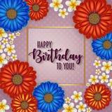 Urodzinowa karta z ramą dekorował z kwiatami i rocznika retro tłem Zdjęcie Stock