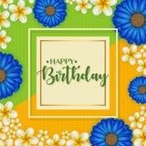 Urodzinowa karta z ramą dekorował z kwiatami i rocznika retro tłem Fotografia Stock
