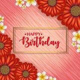 Urodzinowa karta z ramą dekorował z kwiatami i rocznika retro tłem Zdjęcia Stock