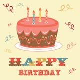 Urodzinowa karta z tortem ilustracja wektor
