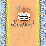 Urodzinowa karta z urodzinowym tortem i tekstem ilustracji