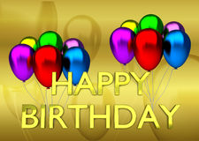 Urodzinowa karta z złotą tła, szyldowej i kolorowej urodzinową kartą z, złotymi tła, szyldowych i kolorowych balonami, Zdjęcia Stock