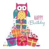 Urodzinowa sowy i prezenta ilustracja Obraz Stock