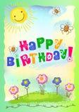 urodzinowa szczęśliwa pocztówka royalty ilustracja