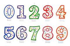Urodzinowe świeczki liczby odizolowywającej Zdjęcie Royalty Free