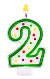 Urodzinowe świeczki numer dwa odizolowywający na bielu Zdjęcia Royalty Free