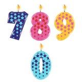 Urodzinowe świeczki odizolowywać Zdjęcie Royalty Free