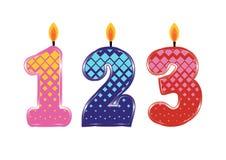 Urodzinowe świeczki odizolowywać Obrazy Stock