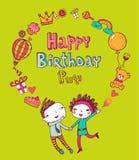 Urodzinowe doodle ikony ilustracja wektor