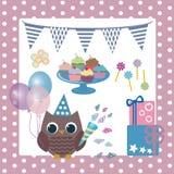 Urodzinowe sowy Obraz Stock