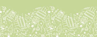 Urodzinowego doodle horyzontalny bezszwowy wzór ilustracji
