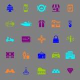 Urodzinowego prezenta koloru ikony na szarym tle Obrazy Stock