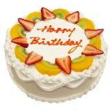 urodzinowego torta świeża owoc szczęśliwa Fotografia Royalty Free