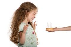urodzinowego torta dziewczyny szczęśliwy mały portret Obraz Royalty Free