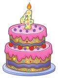 Urodzinowego torta wizerunek dla 4 lat Zdjęcia Stock