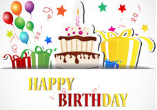 Urodzinowej karty świętowanie na białym tle Zdjęcie Stock