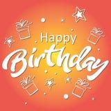 urodzinowej karty powitanie szczęśliwy Literowanie ilustracja na pomarańczowym tle Fotografia Royalty Free