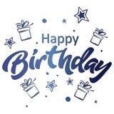urodzinowej karty powitanie szczęśliwy Pisać list błękitną odosobnioną ilustrację na białym backgound Fotografia Royalty Free