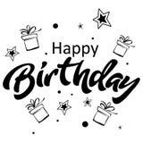 urodzinowej karty powitanie szczęśliwy Pisać list odosobnioną ilustrację Zdjęcie Stock