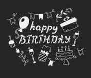 urodzinowej karty powitanie szczęśliwy wektorowa kaligrafia Zdjęcia Stock