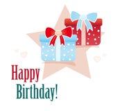 urodzinowej karty prezenty szczęśliwi Obraz Royalty Free