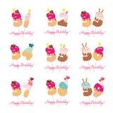 Urodzinowej karty set Świąteczne cukierki liczby od 31 39 Koktajl słoma Śmieszni dekoracyjni charaktery wektor ilustracji