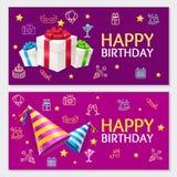 Urodzinowej sztandar karty Horyzontalny set wektor Fotografia Royalty Free