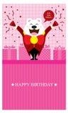 Urodzinowi powitania z niedźwiedź polarny menchiami Ilustracja Wektor