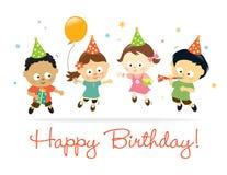 urodzinowi szczęśliwi dzieciaki royalty ilustracja