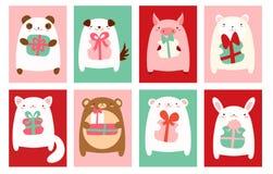 Urodzinowi sztandary z ślicznymi zwierzętami Zdjęcia Royalty Free