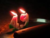 Urodzinowy candel z tortem Obrazy Royalty Free