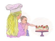 Urodzinowy dziecko dzieciak i truskawka ilustracja wektor