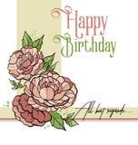 Urodzinowy flycard ilustracji