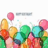 Urodzinowy kartka z pozdrowieniami z kolorowymi wektorowymi lotniczymi balonami Obraz Royalty Free