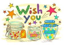 Urodzinowy kartka z pozdrowieniami z słojami i życzeniami Fotografia Stock