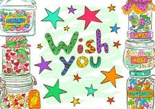Urodzinowy kartka z pozdrowieniami z słojami i życzeniami Obraz Stock