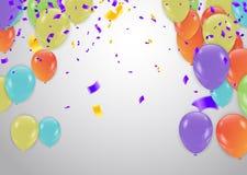 urodzinowy kolorowy szczęśliwy Zawiadomienie z balonem, confetti i royalty ilustracja