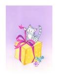 urodzinowy kot Zdjęcia Royalty Free