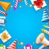 Urodzinowy lub Rocznicowy świętowanie sztandaru karty tło wektor Obrazy Stock